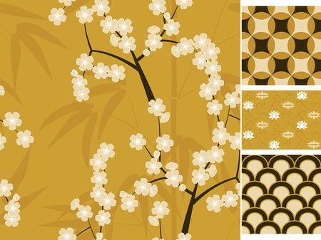 les modèles sans couture japonais mis en bambou, sakura et ornements traditionnels. Vector illustration Vecteurs