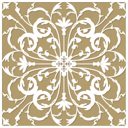 lazer: Template invitation or greeting card with flower ornament for laser and plotter cutting vector illustration