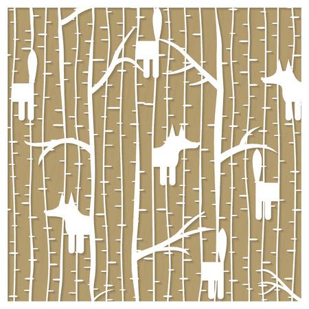 Fox in winter forest pattern - laser cutting. Vector illustration