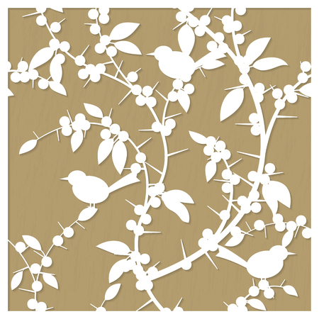 laser cutting: Laser cut decorative pattern with blackthorn berries and birds. A picture suitable for printing, engraving, laser cutting paper, wood, metal, stencil manufacturing. Vector illustration