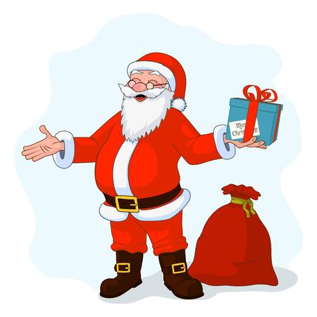 Jolly plump Santa Claus with divorced hands and gift box, bag full of gifts. Vector Illustration