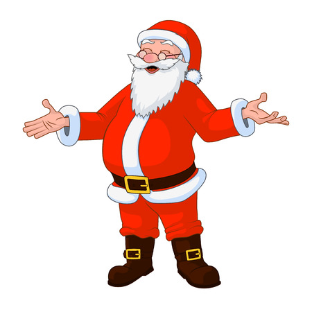 kris kringle: Jolly plump Santa Claus with divorced hands. Vector Illustration Illustration