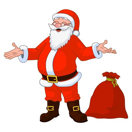 Jolly plump Santa Claus with divorced hands and bag full of gifts. Vector Illustration