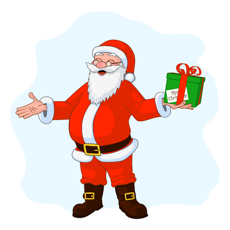 Jolly plump Santa Claus with divorced hands and gift box. Vector Illustration Illustration