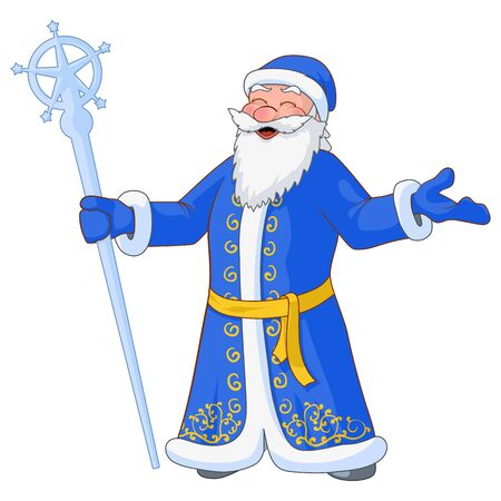 moroz: Russian jolly Ded Moroz with divorced hands and ice staff. Vector Illustration