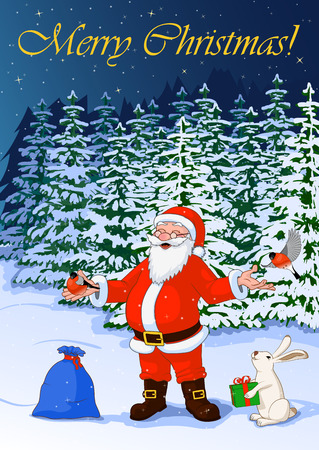 common cold: Post card vector illustration Merry Christmas of jolly Santa Claus in the night winter forest with bullfinch, hare with box and bag full of gifts Illustration
