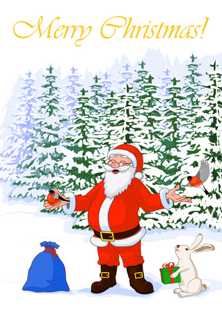 common cold: Post card vector illustration Merry Christmas of jolly Santa Claus in the winter forest with bullfinch, hare with box and bag full of gifts Illustration