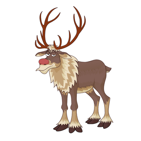 Christmas red nose reindeer Rudolph with inscrutable smile on white background. vector illustration