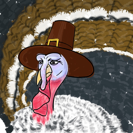 settler: Pilgrim Cartoon Turkey on Thanksgiving Day. Vector illustration Illustration