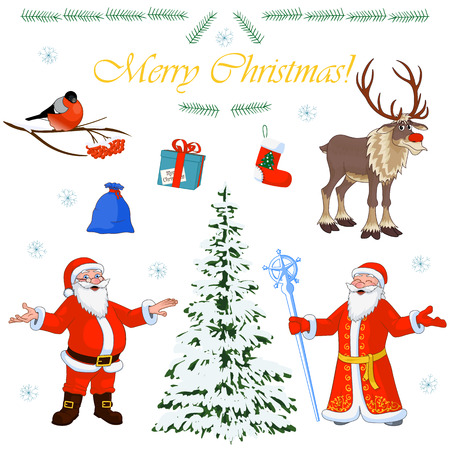 Vector Set of Christmas characters Santa Claus and his little helpers, winter tree and floral decorations