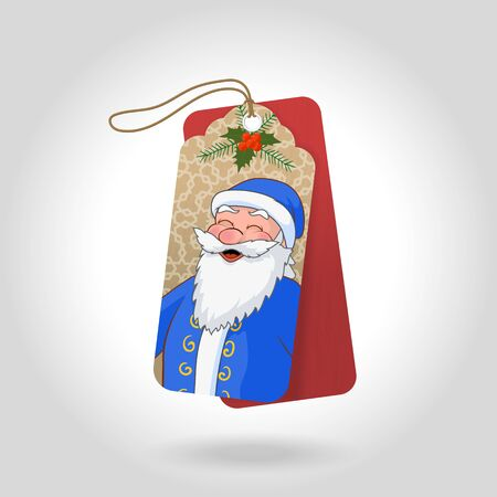moroz: Cute Christmas gift tags with funny squinted Ded Moroz in a blue coat and decoration snowflakes, christmas holly berry. Vector illustration