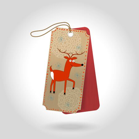 Cute Christmas gift tags with cheerful red reindeer and decoration snowflakes. Vector illustration Illustration