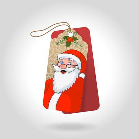 Cute christmas gift tags with blue eyed Santa Claus and decoration snowflakes, christmas holly berry. Vector illustration