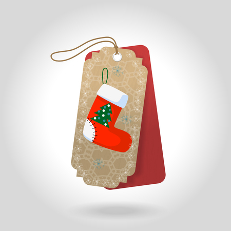 Cute Christmas gift tags with christmas sock and decoration snowflakes. Vector illustration