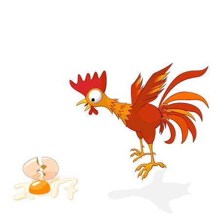 Cartoon rooster in shock, broken egg is stylized numbers 2017. Rooster symbol of the New Year Chinese calendar. Vector illustration Illustration