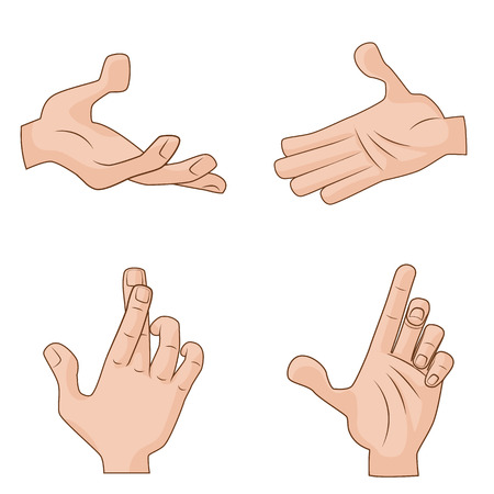 handbreadth: Set of cartoon Hands Icons for concepts. Vector illustration