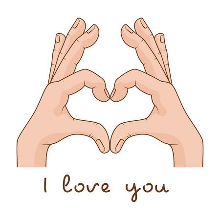 likes: Hands making Sign Heart. Vector illustration. Inscription I love you