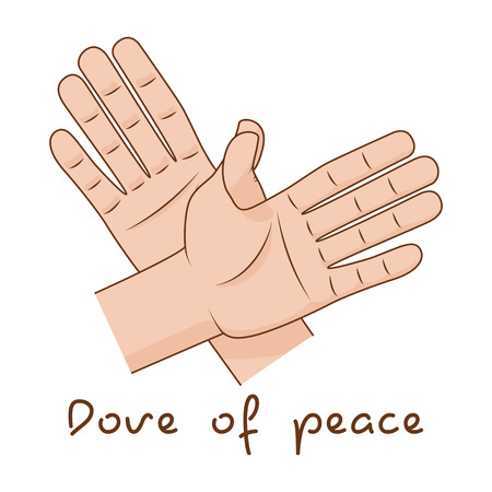 Hands making fly of bird. Vector illustration. Dove of peace sign creative idea Illustration