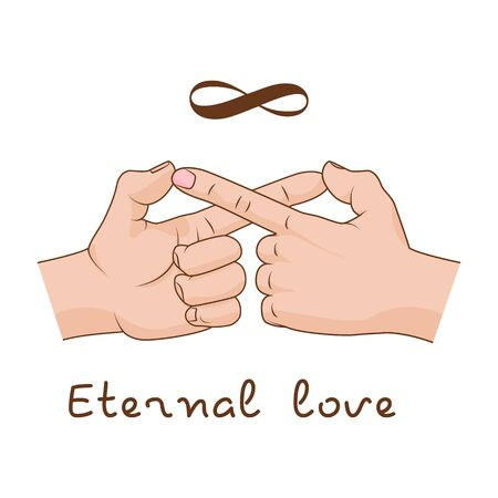Hands making infinity symbol. Vector illustration. Eternal love and friendship Illustration