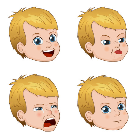 cunning: Set of cute little boy faces showing different emotions. Vector Illustration Illustration