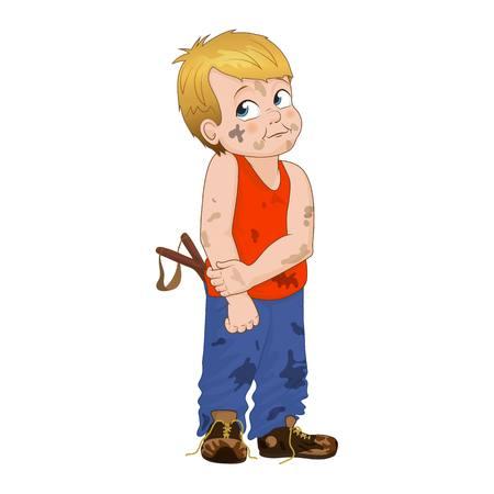 Ilustración vectorial astuto niño matón. El muchacho tiene una apariencia desordenada y que tiene en el bolsillo de una honda