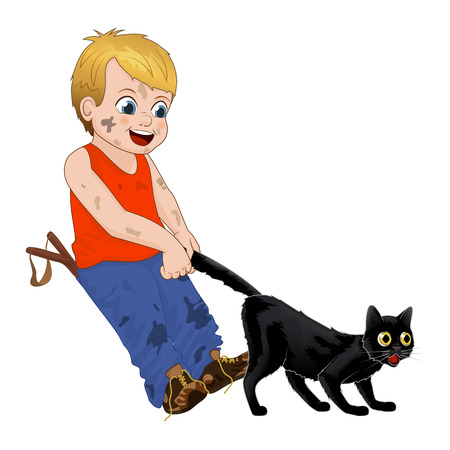 Children play outdoors, hoodlum cheerful little boy pulls the black cats tail. Funny cartoon character. Vector illustration