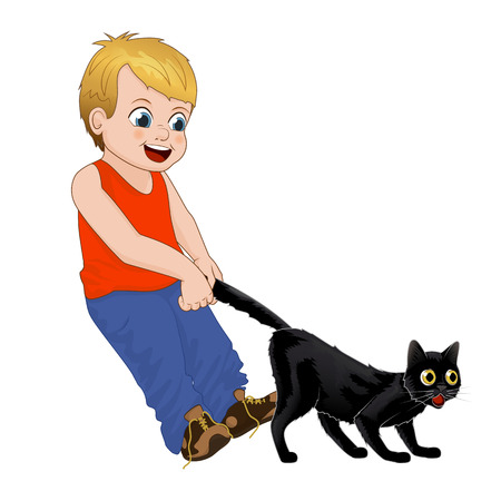 Children play outdoors, hoodlum cheerful little boy pulls the black cats tail. Funny cartoon character. Isolated vector illustration