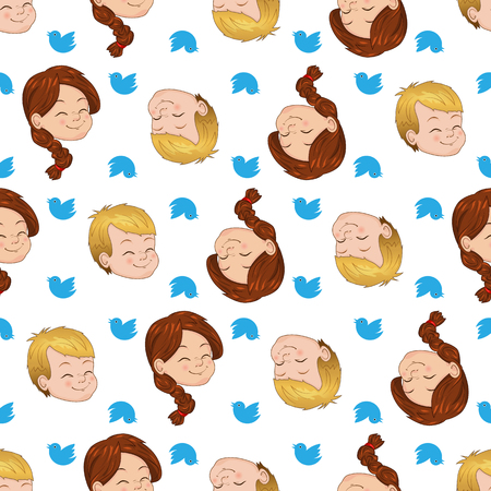 Seamless pattern with smiling boy and girl. Children cute chirping on various topics. Vector illustrations