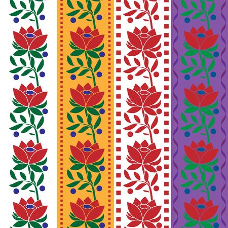 Czech Folk seamless pattern fabric jacquard ribbon trims. Vector illustrations Stok Fotoğraf - 71763393