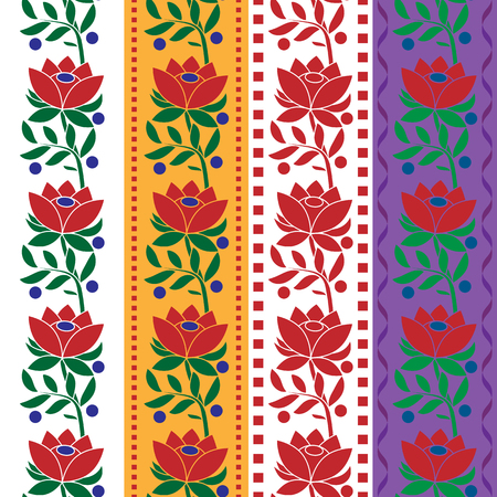 Czech Folk seamless pattern fabric jacquard ribbon trims. Vector illustrations