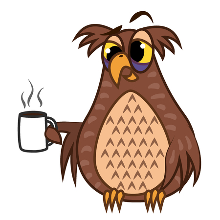 Set isolated Emoji character cartoon sleepy owl with coffe cup. Vector Illustrations