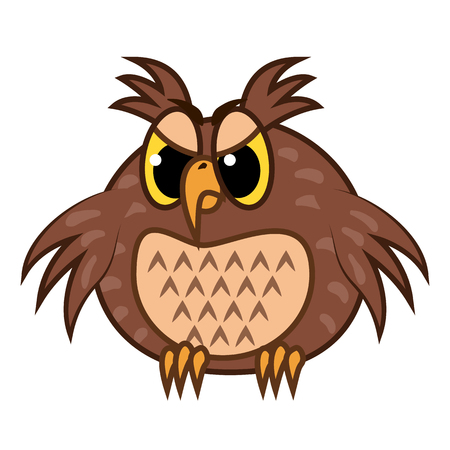 Isolated Emoji character cartoon angry owl. Vector Illustrations Illustration