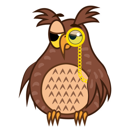 snob: Set isolated Emoji character cartoon sarcastic owl with pince nez. Vector Illustrations