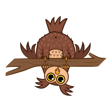 Cartoon curious owl hanging upside down on a branch. Illustration