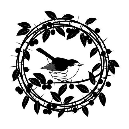 Blackthorn berries branches and leaves frame. Vector illustrations vintage design Illustration