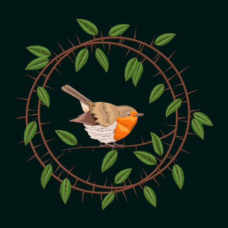 Embroidery Blackthorn branches and robin bird. Vector illustrations vintage design Illustration