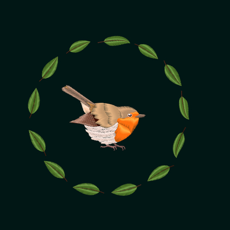 Embroidery Blackthorn leaves and robin bird. Vector illustrations vintage design