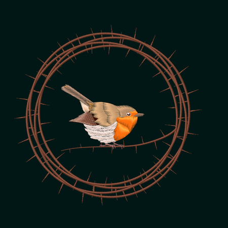 redbreast: Embroidery Blackthorn branches and robin bird. Vector illustrations vintage design Illustration