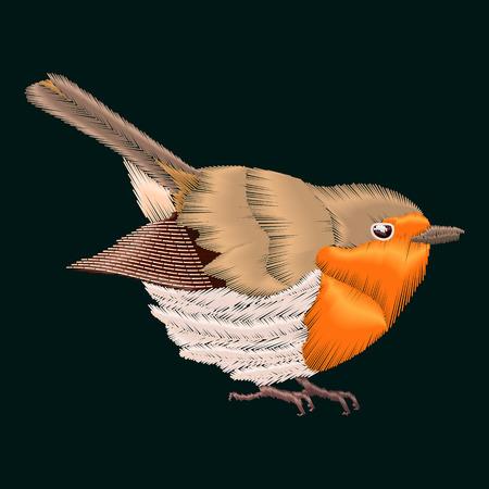 redbreast: Embroidery robin bird. Vector illustrations vintage design