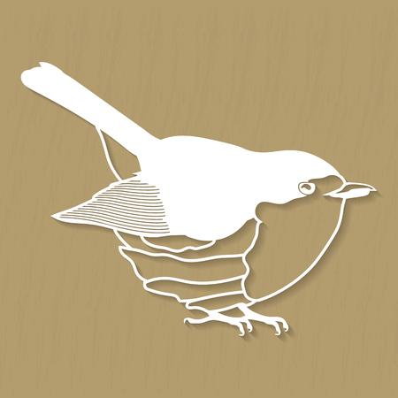Robin bird design for plotter or laser cutting. Vector illustrations Illustration