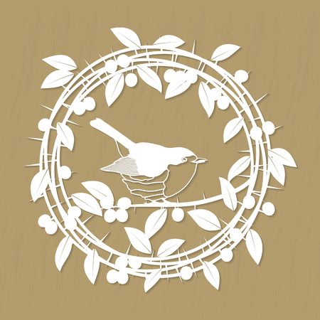 redbreast: Blackthorn berries branches, leaves and robin bird frame for laser or plotter cutting. Vector illustrations vintage design