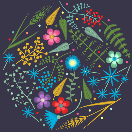 Vector Embroidery round pattern with Forest plants and Field wildflowers.