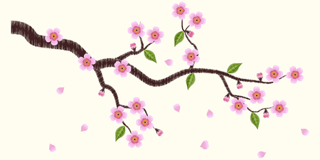 Vector illustrations blooming sakura branch embroidery.