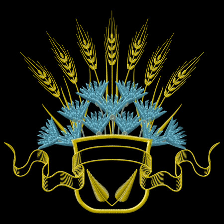 weeds: Vector illustration Embroidery Coat of arms with Wheat and blue Cornflowers.