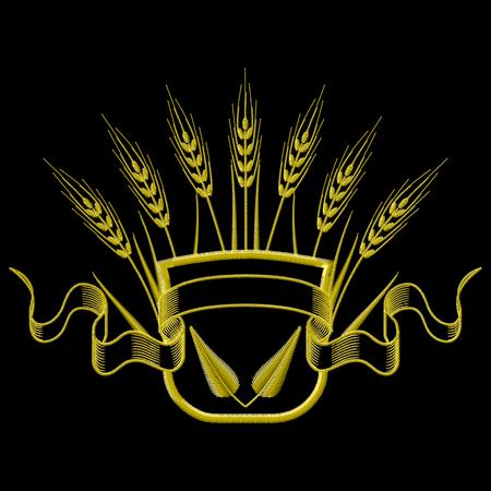 Illustrazione vettoriale Ricamo Stemma con grano e foglie.