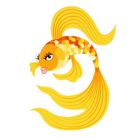 Vector illustration Gold fish from a fairy tale.