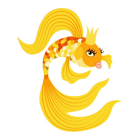 Vector illustration Queen Gold fish from a fairy tale. Illustration