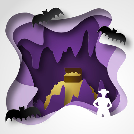 Cave paper cut shadow box with gold, stalactites and stalagmites, traveler and bats vector illustration