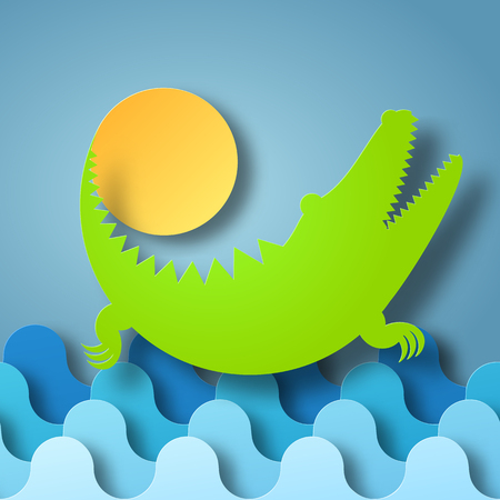 Crocodile plays with the Sun in water box of shadow. Vector illustration