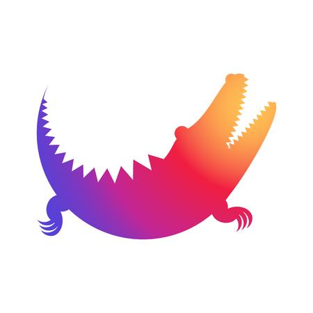 Illustration rainbow Crocodile vector icon made of circles